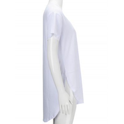 V Neck Side Slit TeeWomens Clothing<br>V Neck Side Slit Tee<br><br>Material: Polyester<br>Clothing Length: Long<br>Sleeve Length: Short<br>Collar: V-Neck<br>Style: Fashion<br>Season: Summer<br>Pattern Type: Solid<br>Weight: 0.380kg<br>Package Contents: 1 x Tee
