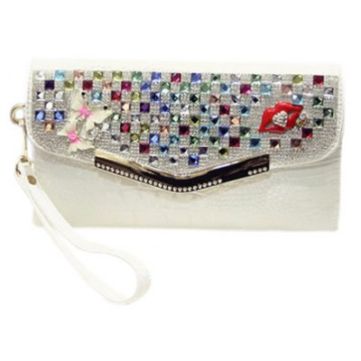 Trendy Rhinestones and Covered Closure Design Clutch Bag For Women