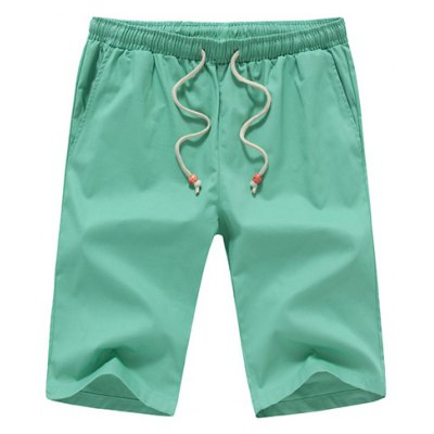 Casual Straight Leg Solid Color Drawstring Shorts For Men