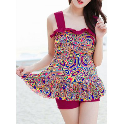 Chic Ruffled Flounced Tank Top With Boxers Twinset For Women