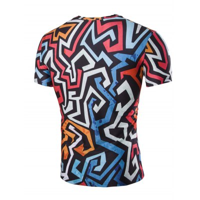 3D Irregularity Geometric Print Round Neck Short Sleeves T-Shirt For Men