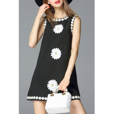 A Line Daisy Applique Dress