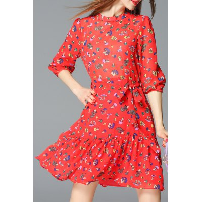 Mock Neck Mini Mushroom Print Dress