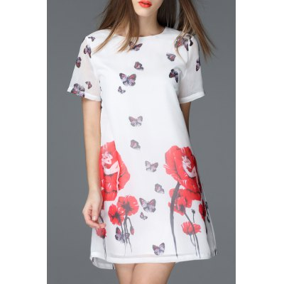 Floral and Butterfly Print Round Collar Dress