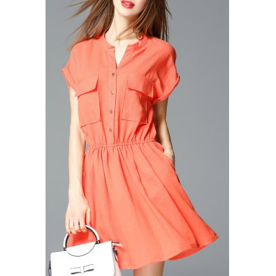 Front Pockets V Neck Solid Color Dress