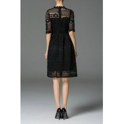 See-Through Lace Knee Length Dress