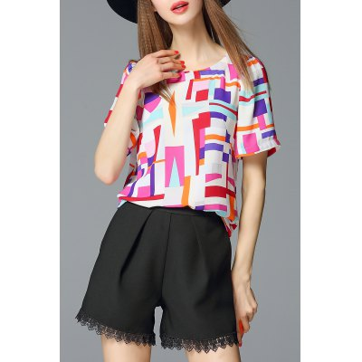 Colorful Plaid Round Collar Chiffon Blouse