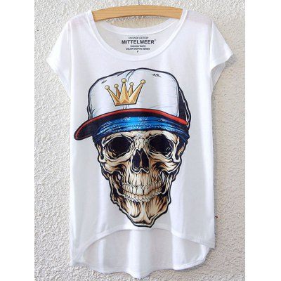 Simple Style Women's Skulls Pattern Short Sleeve T-Shirt