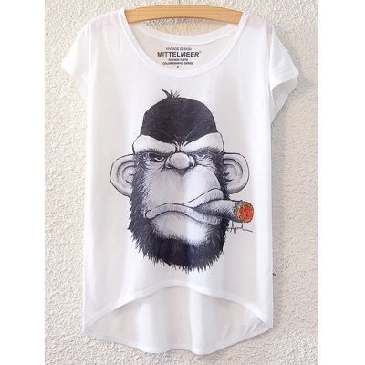 Simple Style Women's Gorilla Pattern Short Sleeve T-Shirt