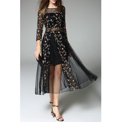 Tiny Flower Embroidered Sheer Dress
