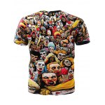 cheap Trendy 3D Round Neck Men's Cartoon Zombies Printed Short Sleeve T-Shirt