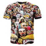 Trendy 3D Round Neck Men's Cartoon Zombies Printed Short Sleeve T-Shirt