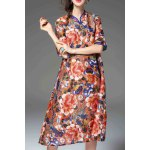 Floral Print Loose Fitting Dress