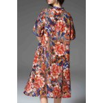 cheap Floral Print Loose Fitting Dress