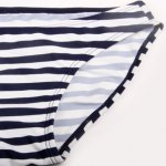 Alluring Halter Striped Three-Piece Bikini Set For Women photo