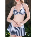 Alluring Halter Striped Three-Piece Bikini Set For Women deal