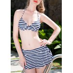 cheap Alluring Halter Striped Three-Piece Bikini Set For Women