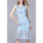 Beaded Hollow Out Lace Mermaid Dress