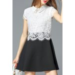 Flat Collar Lace Panel A Line Dress deal