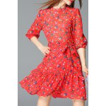 Mock Neck Mushroom Print Mini Dress