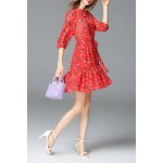 best Mock Neck Mushroom Print Mini Dress
