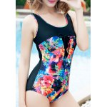 cheap Stylish Scoop Neck Floral Print Hollow Out Women's Swimwear
