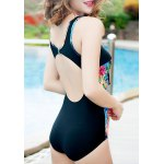 Stylish Scoop Neck Floral Print Hollow Out Women's Swimwear for sale