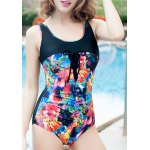 Stylish Scoop Neck Floral Print Hollow Out Women's Swimwear