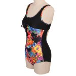 Stylish Scoop Neck Floral Print Hollow Out Women's Swimwear photo