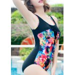 Stylish Scoop Neck Floral Print Hollow Out Women's Swimwear deal