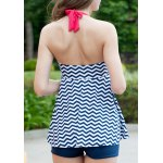 Alluring Halter Wave Print Backless Women's Tankini Set for sale