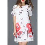 Round Collar Floral and Butterfly Print Dress