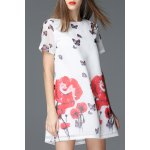 Round Collar Floral and Butterfly Print Dress for sale