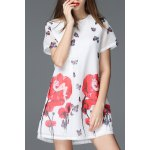 Round Collar Floral and Butterfly Print Dress deal