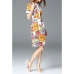 best Floral Print Slit Shirt Dress