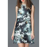 Round Collar Printed A Line Vintage Dress