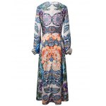 cheap Bohemian Lantern Sleeve Printed Women's Maxi Dress