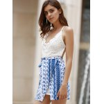 Trendy Lace Top Backless Tribal Print Women's Dress for sale