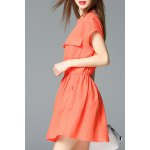 V Neck Front Pockets Solid Color Dress deal