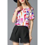 Round Collar Colorful Plaid Chiffon Blouse