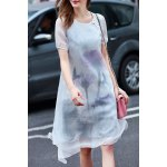 Ethereal Round Neck Double-Layered Dress