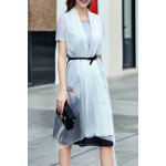 A-Line Ink Painting Dress With Overlay deal