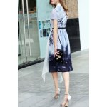 cheap A-Line Ink Painting Dress With Overlay