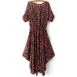 cheap Bohemian Small Floral Print Women's Midi Dress
