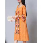 cheap Ethnic Style 3/4 Sleeve Scoop Neck Floral Embroidery Dress For Women