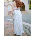 cheap Ethnic Style Strapless Floral Embroidery Maxi Dress For Women