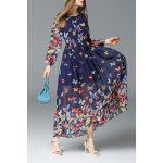 Butterfly Print Maxi Long Sleeve Dress for sale