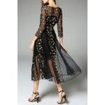 cheap Tiny Floral Embroidered Sheer Dress