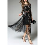 best Tiny Flower Embroidered Sheer Dress