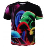 Buy Summer 3D Round Neck Colored Mushroom Pattern Short Sleeve T-Shirt Men 3XL COLORMIX